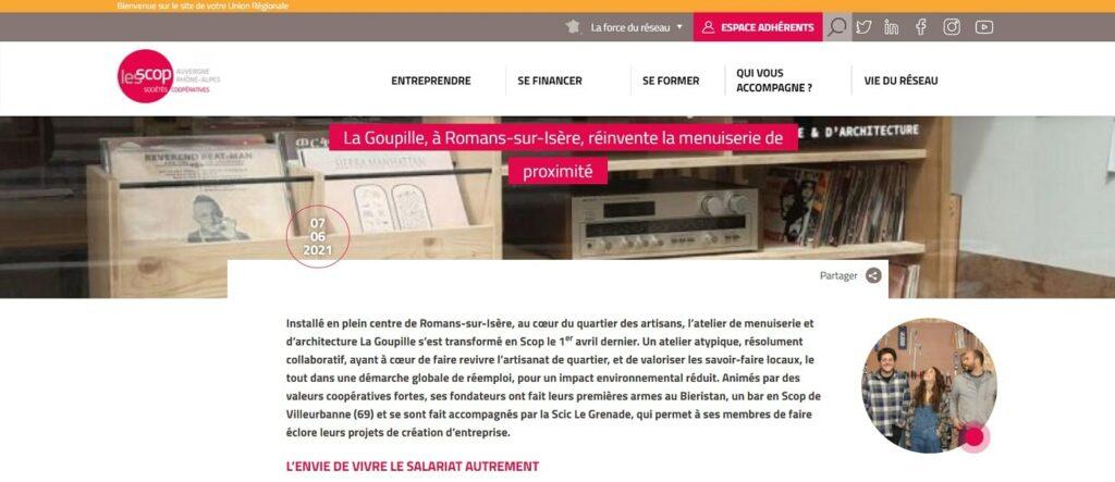 article de l'URSCOP Auvergne-Rhône-Alpes sur La Goupille