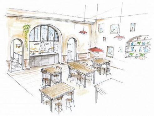 Croquis menuiserie bar-restaurant Magma terra